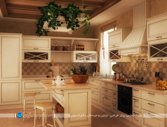 آشپزخانه با کابینت های طرح کلاسیک و ساده