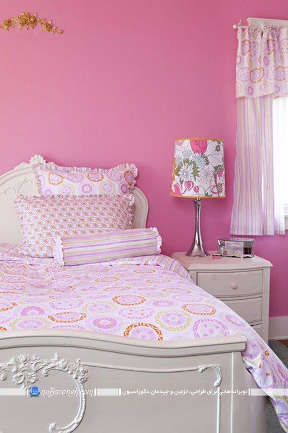 اتاق خواب با دیوار صورتی
