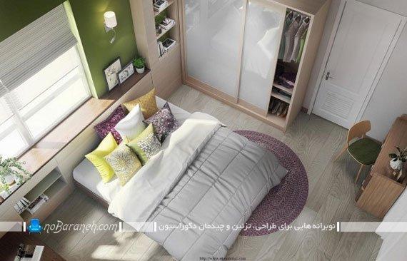طراحی دکوراسیون ساده و با طراوت در اتاق خواب عروس