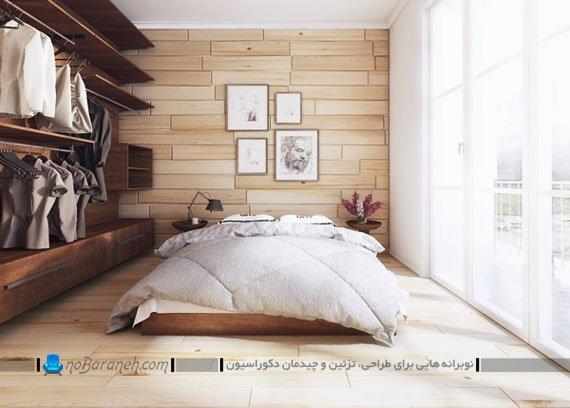 ست کردن دیوارپوش و کفپوش اتاق خواب با طرح چوبی