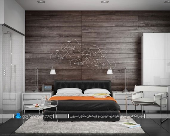 اتاق خواب عروس با دیوارپوش چوبی مدرن