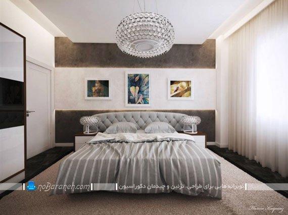 اتاق خواب عروس با طراحی مدرن با تزیینات دیواری زیبا