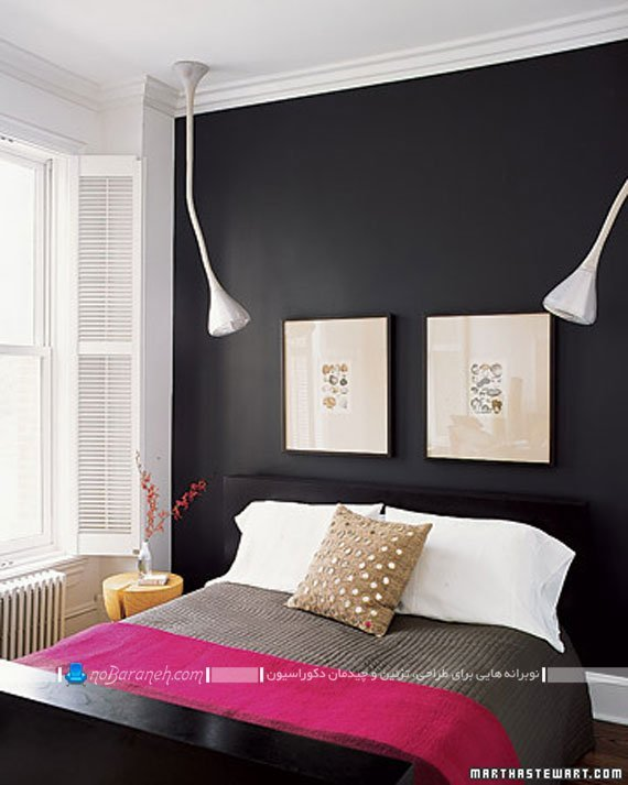 تزیین دیوارهای سیاه و تیره رنگ اتاق خواب