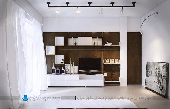 میز تلویزیون و بوفه چوبی شیک و زیبا در اتاق خواب