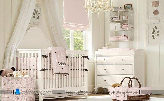 اتاق و سیسمونی نوزاد با رنگ بندی سفید و صورتی
