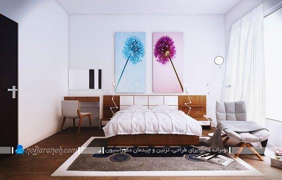 استفاده از تابلوهای دیواری دکوراتیو حال و هوای با نشاطی به اتاق خواب داده است