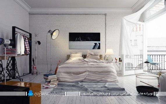 دیزاین اتاق خواب عروس با دیوارپوش آجری و کفپوش چوبی سفید