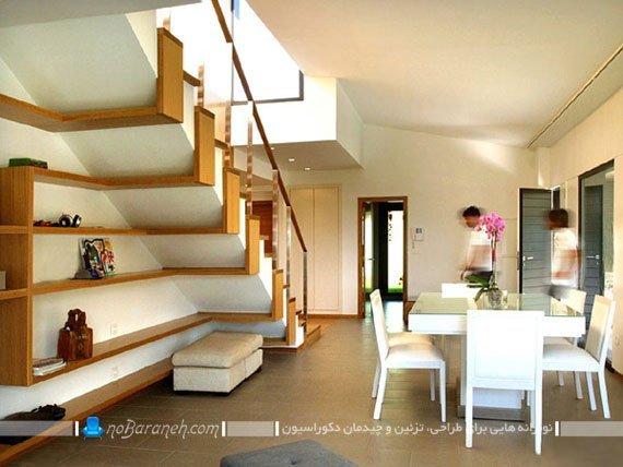 طراحی شلف و قفسه تزئینی در زیر پله های دوبلکس