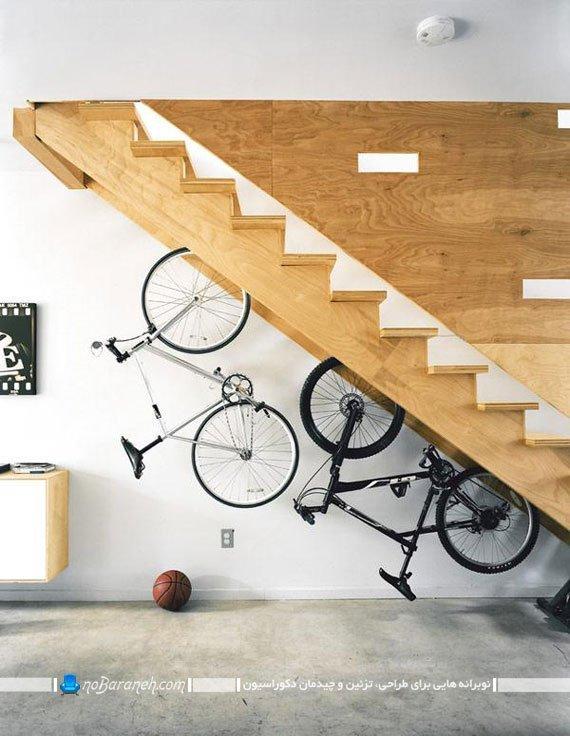 ستفاده از فضای زیر پله های دوبلکس بعنوان پارکینگ دوچرخه