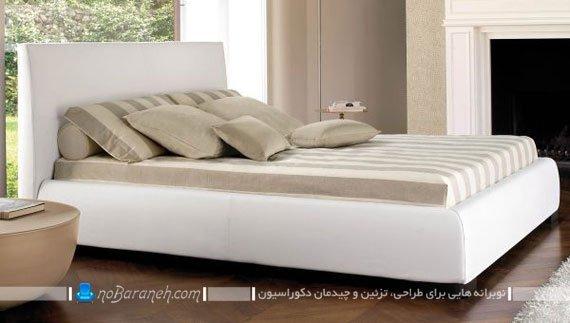 تخت خواب سفید رنگ با نمای چرمی