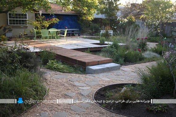 تزیین حیاط خانه ویلایی با پل چوبی