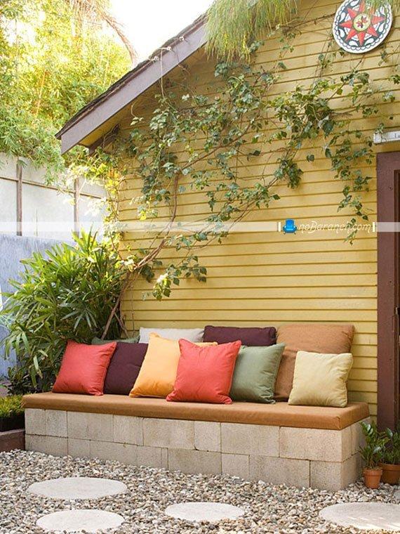 تزیین خلاقانه حیاط منزل با بلوک سیمانی