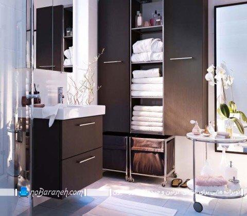 تزیین دکوراسیون حمام و دستشویی با کابینت و کمدهای mdf چوبی ایکیا