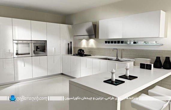 کابینت های سفید رنگ و شیک و مدرن آشپزخانه