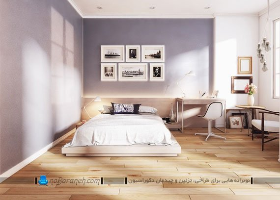 کفپوش چوبی و دیوارهای رنگی در اتاق خواب