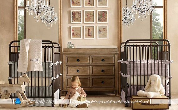 طراحی و تزیین دکوراسیون اتاق خواب کودکان نوزاد دوقلو