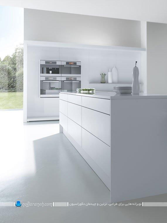 کابینت های یکدست سفید درد کوراسیون داخلی آشپزخانه