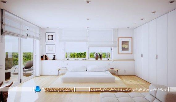 طراحی دکوراسیون سفید اتاق خواب عروس و داماد