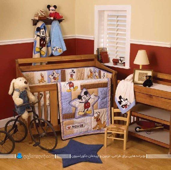 طراحی دکوراسیون چوبی اتاق نوزاد / عکس
