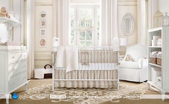 مبلمان و اثاثیه اتاق خواب کودک نوزاد به شکل ست شده و یکدست