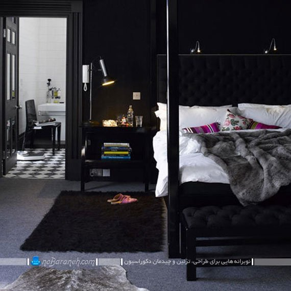 تزیین دکوراسیون اتاق خواب با دیوارهای سیاه و روتختی سفید رنگ
