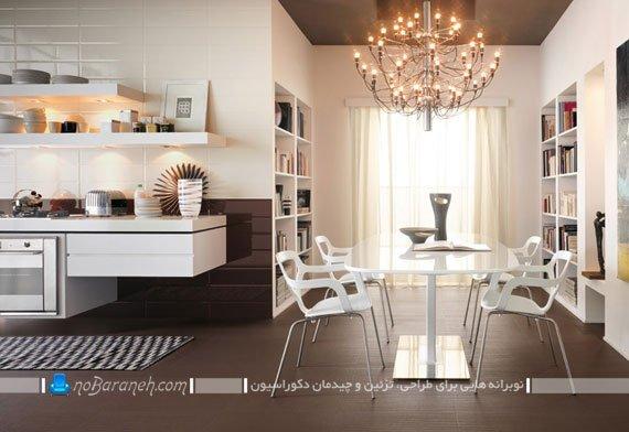 سرامیک کف با رنگ قهوه ای و طرح مدرن / عکس
