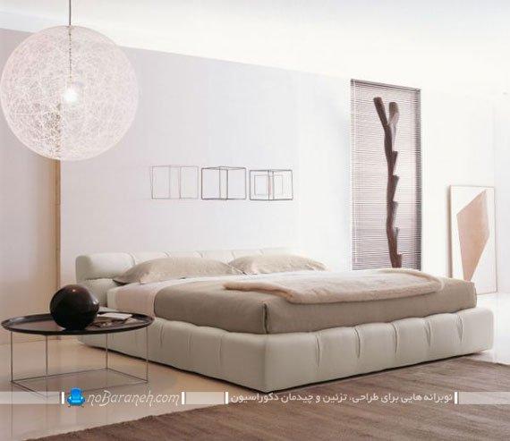 تخت خواب عروس با نمای چرمی و پارچه ای