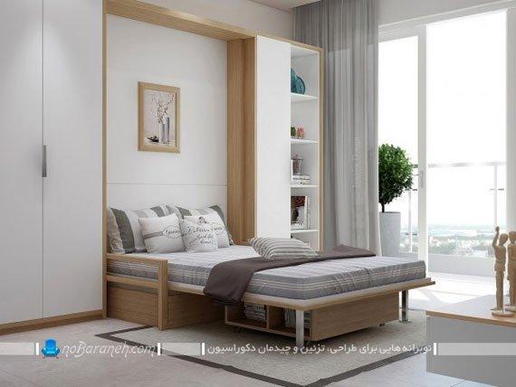 سرویس خواب اتاق عروس با طرح و مدل تاشو دیواری و کمجا