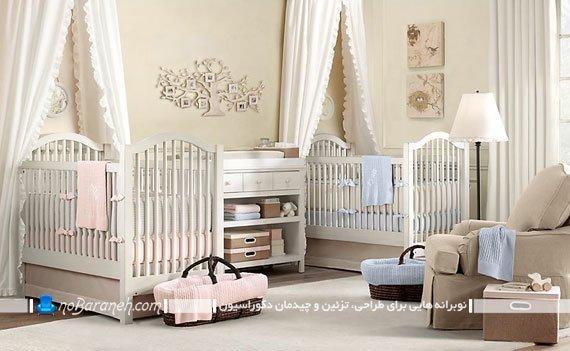 دکوراسیون داخلی اتاق خواب کودکان به همراه سرویس خواب دو قلو (دخترانه و پسرانه)