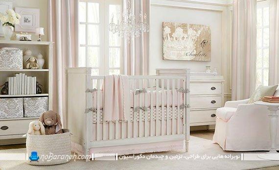 ست کردن پرده و سیسمونی اتاق خواب کودک نوزاد