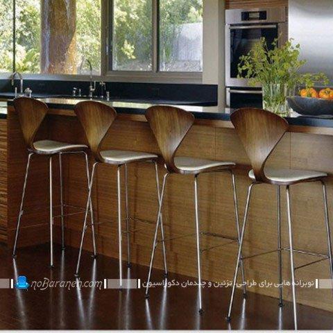 صندلی اپن پایه بلند فانتزی فلزی و چوبی / عکس