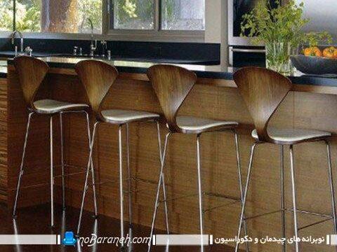 صندلی اپن و بار چوبی و فلزی پایه بلند