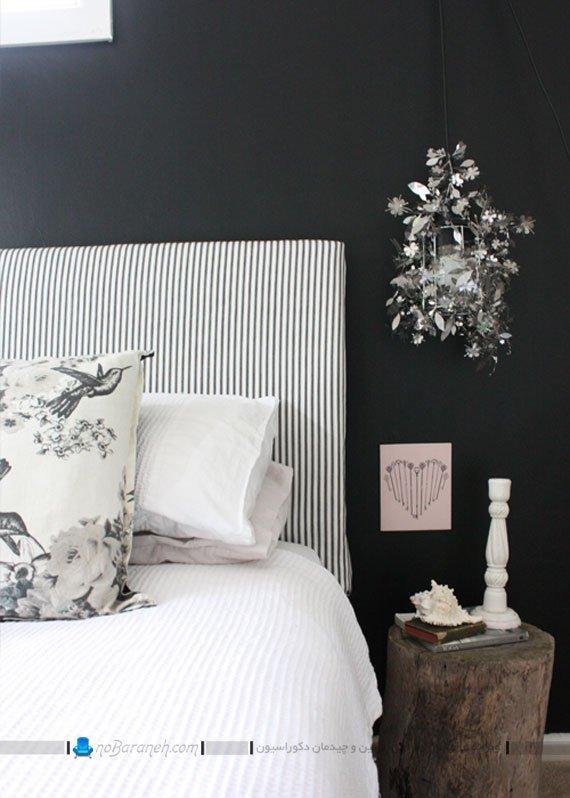 تخت خواب سفید و مشکی / عکس