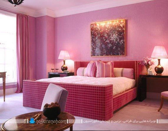 تزیین و دیزاین دکوراسیون اتاق خواب با رنگ صورتی