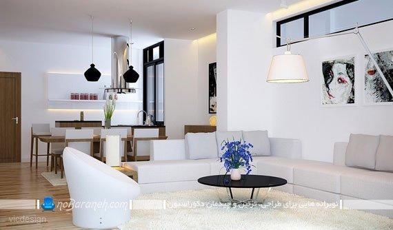 چیدمان و دیزاین مدرن اتاق نشیمن