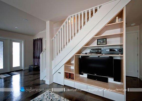 طراحی میز و شلف تلویزیون و سیستم صوتی تصویری در زیر راه پله های دوبلکس