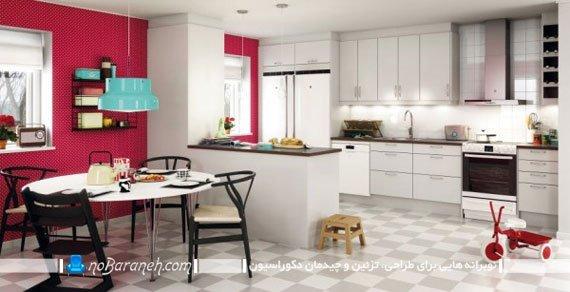 آشپزخانه اپن با کابینت سفید رنگ