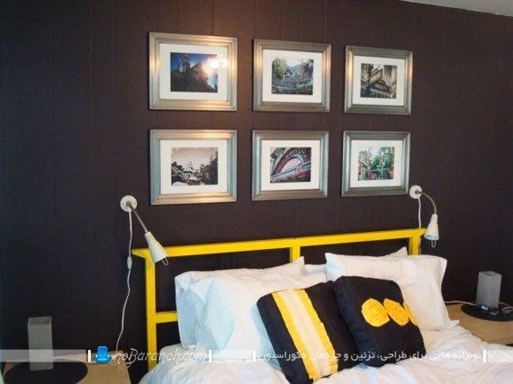تزیین دیوارهای سیاه رنگ با قاب عکس
