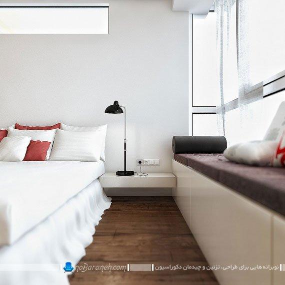 طراحی فضای نشیمن در کنار پنجره های اتاق خواب