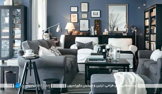 طراحی دکوراسیون اتاق نشیمن با رنگهای تیره