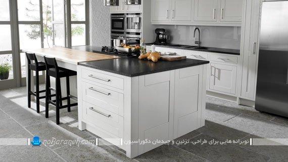 آشپزخانه اپن با طراحی دکوراسیون کلاسیک
