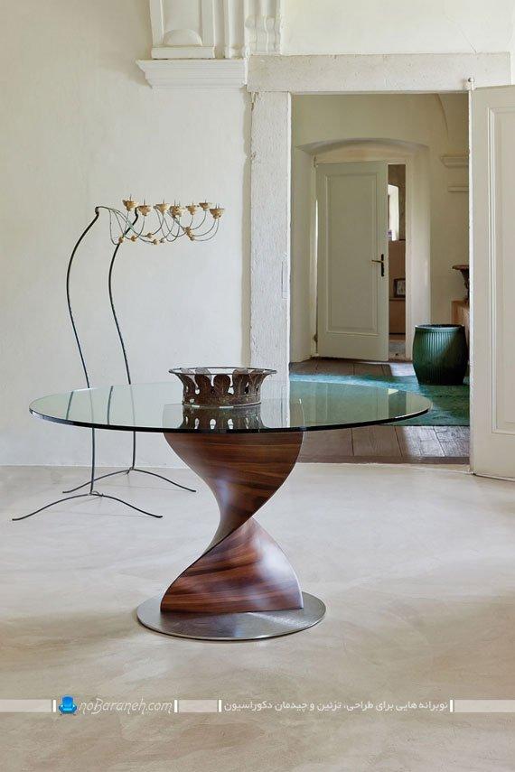 میز غذاخوری شیشه ای با پایه چوبی / عکس