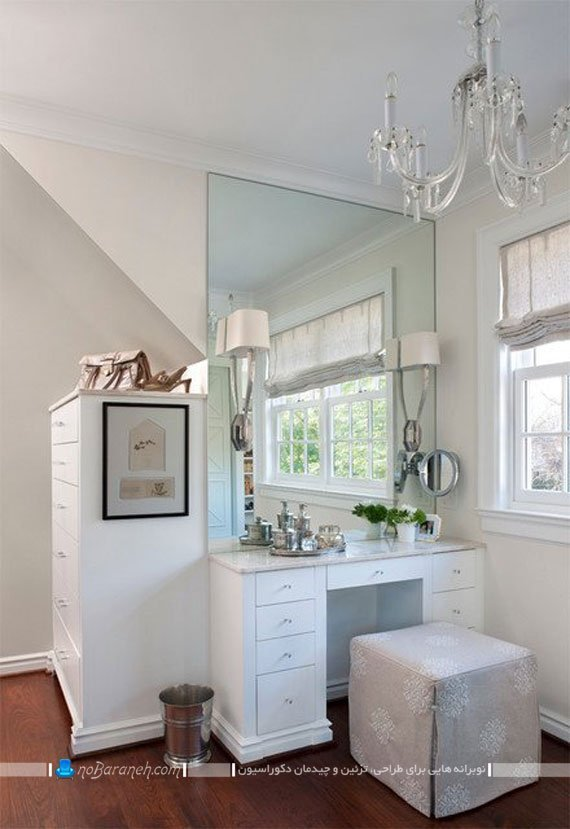 میز آرایش کلاسیک با آینه بزرگ