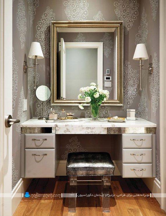 میز آرایش کلاسیک با آینه دیواری