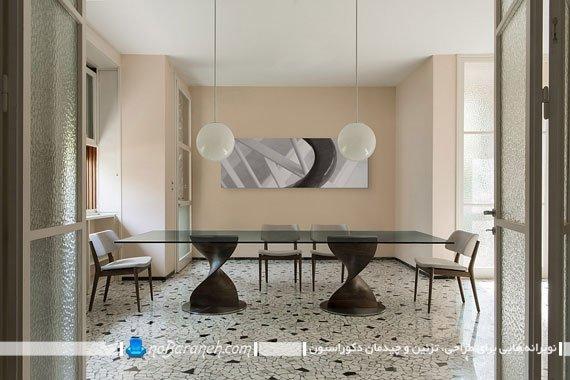 میز نهارخوری شیشه ای و چوبی / عکس