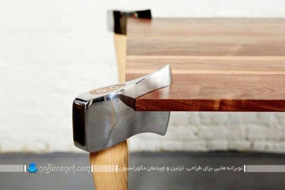 میز ناهارخوری با پایه های تبر شکل / عکس