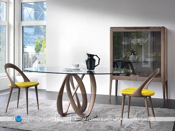 میز ناهارخوری فانتزی چوبی و شیشه ای / عکس