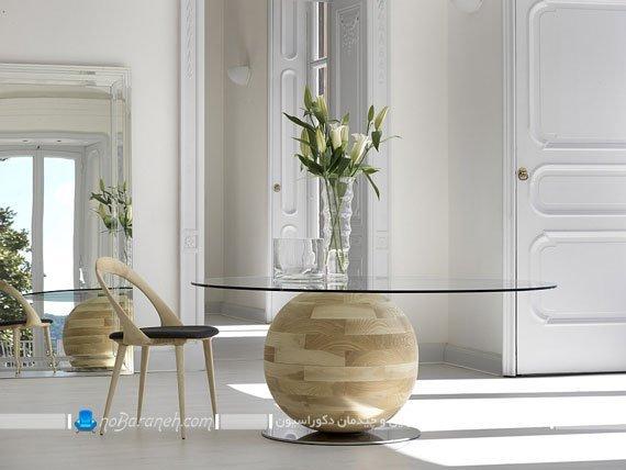 میز غذاخوری گرد چوب و شیشه / عکس