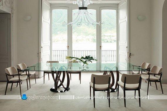 میز ناهارخوری شیشه ای هشت نفره / عکس