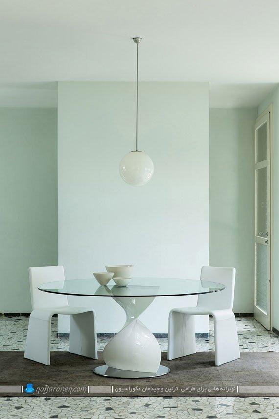 میز ناهارخوری شیشه ای با صندلی فانتزی / عکس